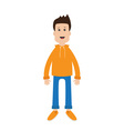 Funny cartoon guy Cute boy character Casual dress vector image