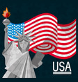 american flag and statue of liberty vector image