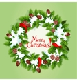 Christmas tree wreath with snow card design vector image