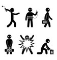set of terrorists with bomb suicide bomber vector image