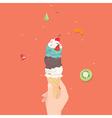 Hand holding ice cream cone vector image