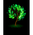 green tree on a black background vector image vector image