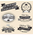 Black and white set of Easter labels vector image