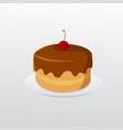 birthday chocolate cake with cherry on dish vector image