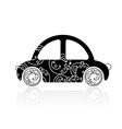 Black car with floral ornament for your design vector image
