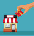 color background with store with awning and hand vector image