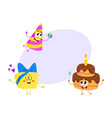 funny birthday characters - hat cake gift box vector image