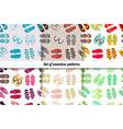 set seamless patterns of flip flops vector image
