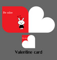 valentine card with rabbit vector image