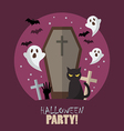 Halloween party flat poster vector image