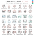 Cyber security ultra modern color outline vector image