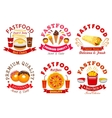 Fast food cafe and pizzeria sign set vector image vector image