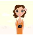 Beautiful tourist photographer girl vector image vector image