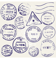 Set of vintage postage stamps from many countries vector image