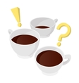 A cup of coffee with question and exclamation vector image