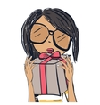 Cute trendy girl Fashion girl with gifts vector image
