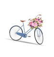 Blue bicycle with a basket full of flowers vector image