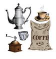 coffee set cezve coffeepot ibrik coffee maker vector image