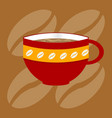 Decorated up of coffee over bronw background vector image