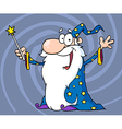 Happy Wizard Waving And Cape Holding A Magic Wand vector image