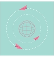 Origami paper plane and world globe Dash line vector image