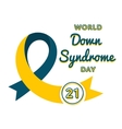 World Down Syndrome day greeting emblem vector image