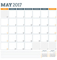Calendar Planner Template for May 2017 Week Starts vector image