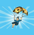 woman golden parachute financial compensation in vector image