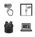 hand click elevator gift box door online vector image
