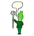cartoon devil with pitchfork with speech bubble vector image