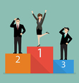 Business woman celebrates on winning podium next vector image