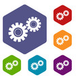 two gears icons set hexagon vector image