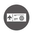 round icon airplane ticket cartoon vector image