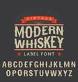 Modern whiskey label font poster vector image