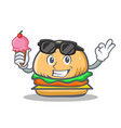 Burger character fast food with ice cream vector image