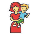 Happy mother with son pretty mum embracing kid vector image
