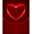 heart from red silk ribbon vector image
