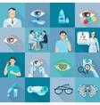 Oculist Ophthalmologist Flat Icons Set vector image