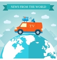 flat news car icon travels around the world vector image
