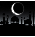 mosque silhouette in night sky with vector image