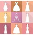 Wedding IconsDresses silhouette setFashion flat vector image