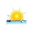 boat on the sea icon vector image