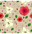 floral seamless pattern with lily flowers androses vector image