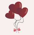 balloons in form of hearts connected by a bow on vector image
