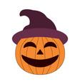 cartoon halloween pumpkin wearing witch hat vector image