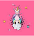 flat funny magic unicorn on cloud isolated vector image