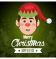greeting card face elf green bakcground vector image
