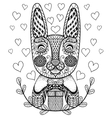 Hand drawn Easter Rabbit with gift and hearts in vector image
