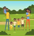 happy black family with many children in the park vector image