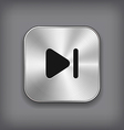 Media player icon - metal app button vector image